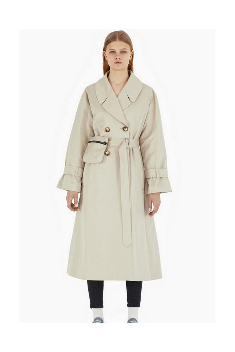 Buy Casual beige trench vintage retro belt buttons women coat