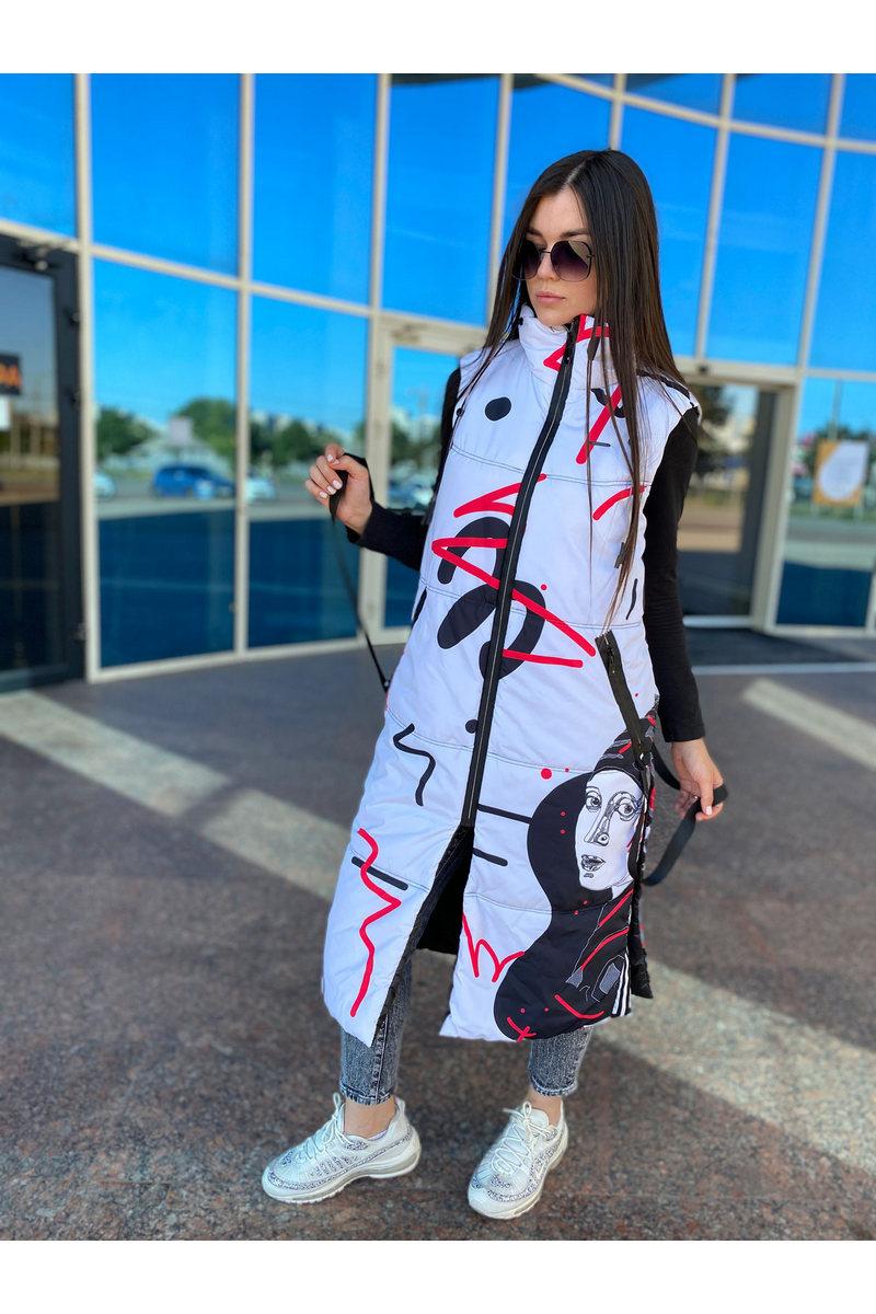 Buy Women's Print Warm Long Down Vest Outwear Sleeveless Padded Waistcoat Jacket