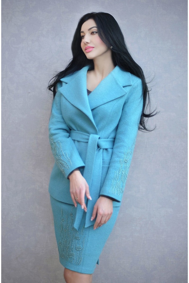 Buy Stylish blue wool hand made embroidery business elegant design suit