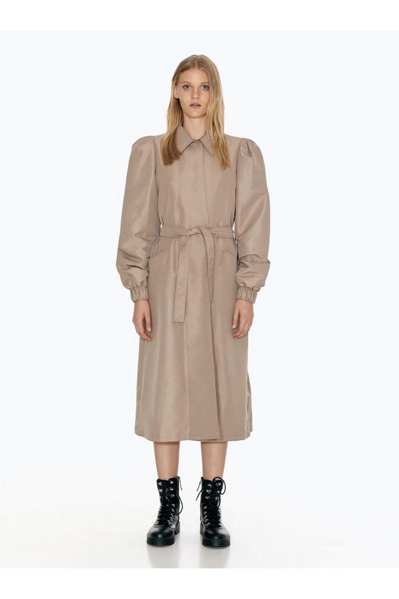 Buy Loose Long Windbreaker Women Beige Midi Casual Polyester Raincoat