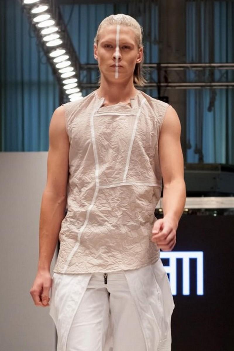 Buy Crumpled cotton beige / white t-shirt, men`s designer sleeveless crew neck casual party tee