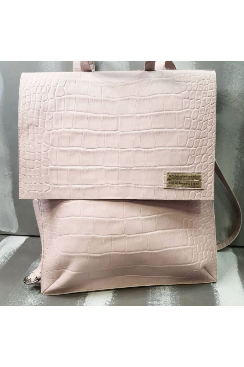 Buy Real Leather Girls Womens Handmade Backpack Bag Crocodile Embossed (Powder)