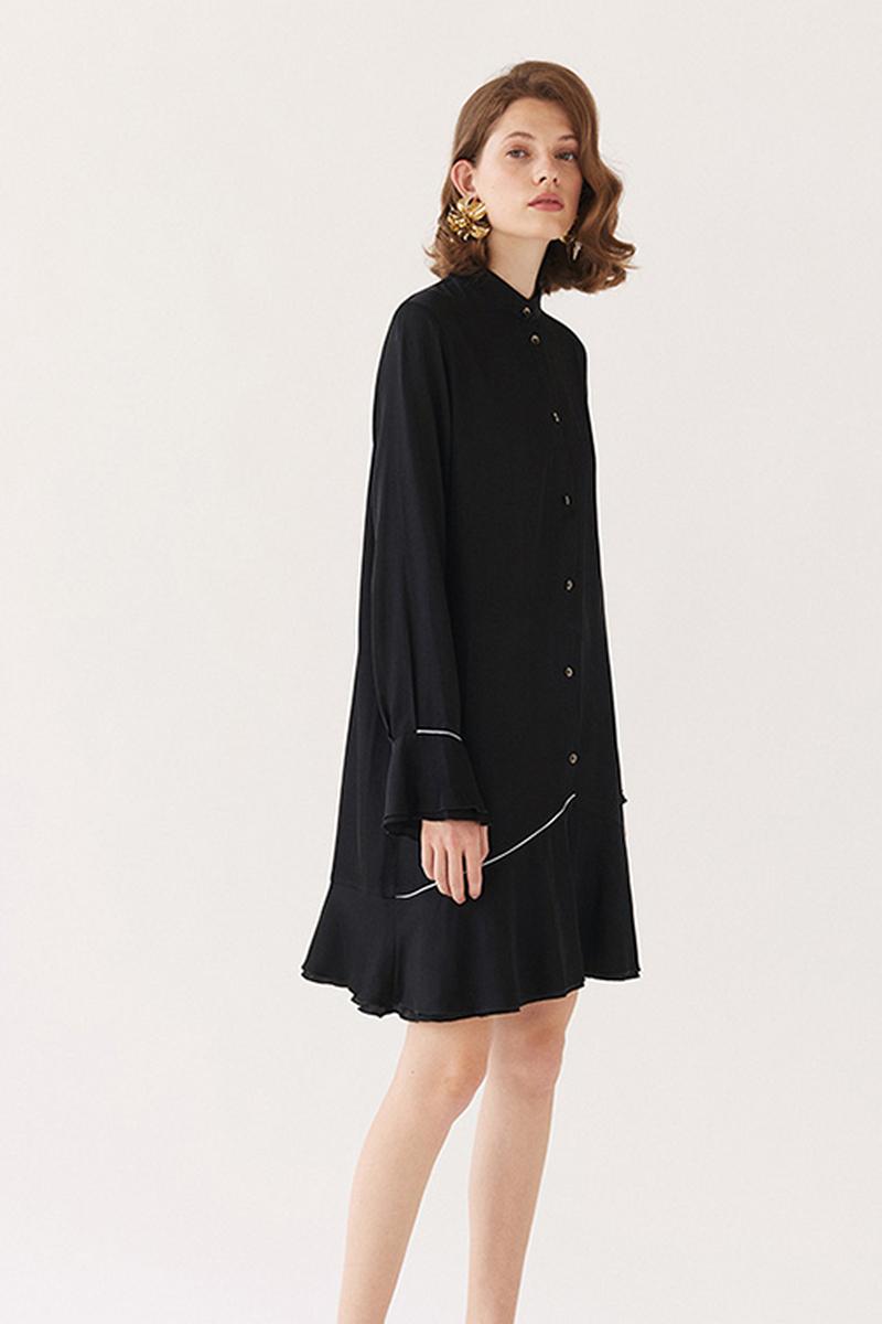 Buy Black silk shirt dress romantic a-line buttons long sleeves ruffles elegant retro dress