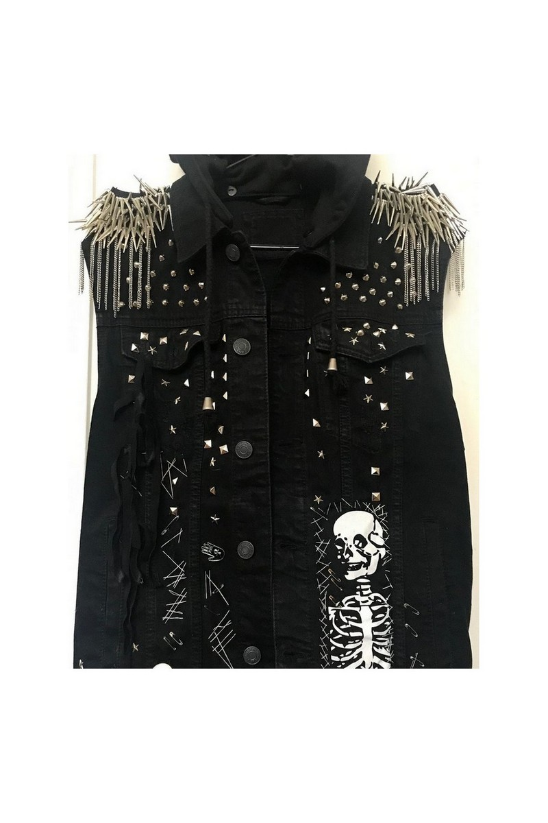 Buy Studded denim vest, Black rocknroll clothing, Women Men Hooded Monster Vest