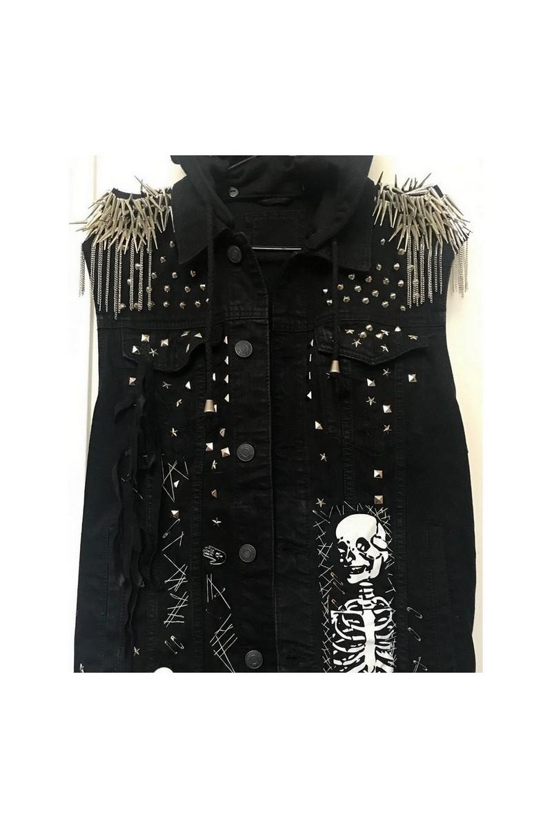Buy Studded denim vest, Black rocknroll clothing, Women Men Hooded Monster Vest