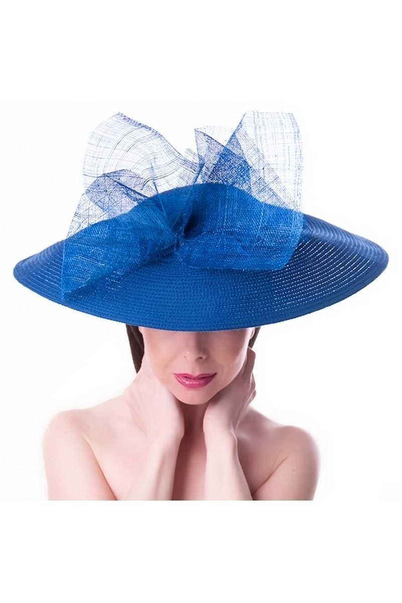 Buy Elegant Feather Fascinator Hat Bow Big Derby Hat, Blue broad-brimmed hat