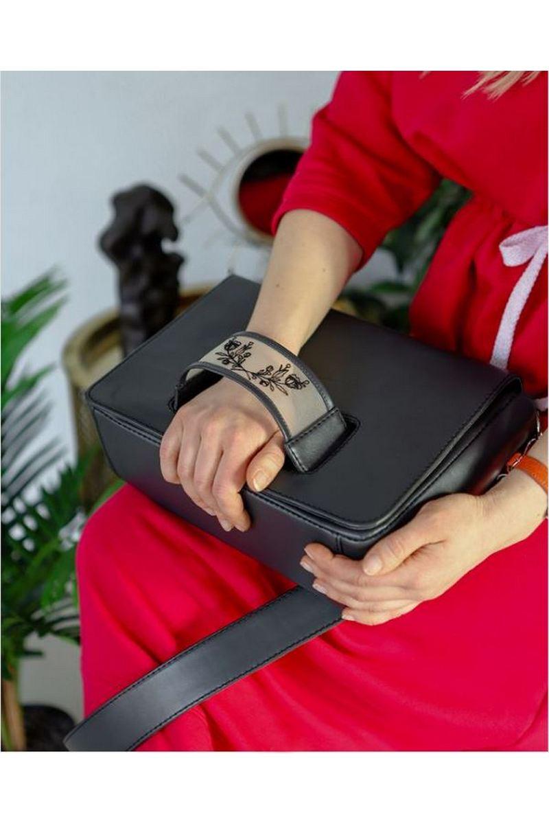 Buy Black leather women's handbag with tattoo bracelet, Medium сrossbody long handle сlutch bag
