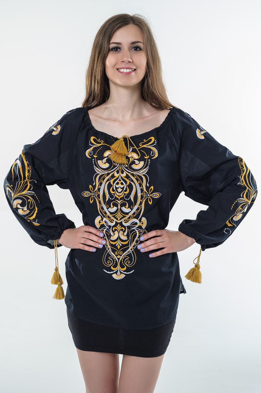 Buy Ukrainian embroidery from cotton with long sleeves, folk, authentic, ethnic