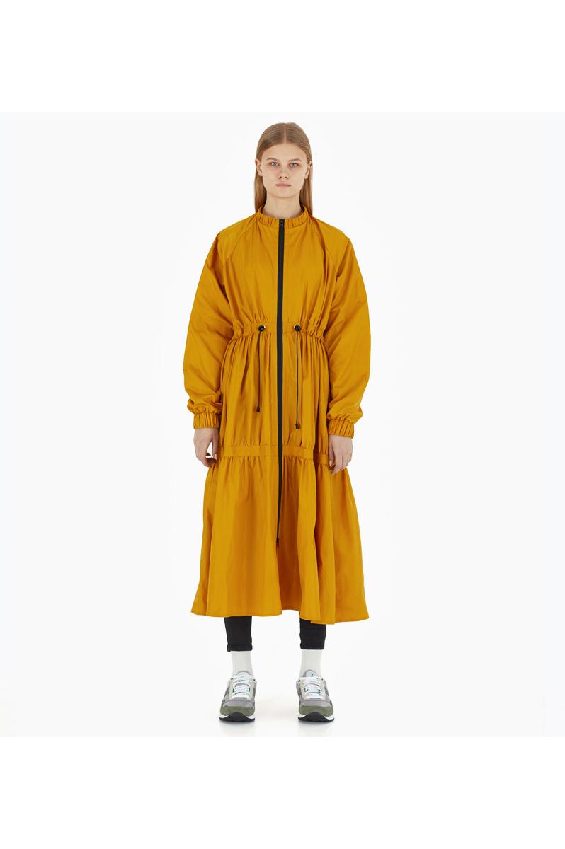 Buy Yellow long polyester loose zipper urban city casual women`s raincoat