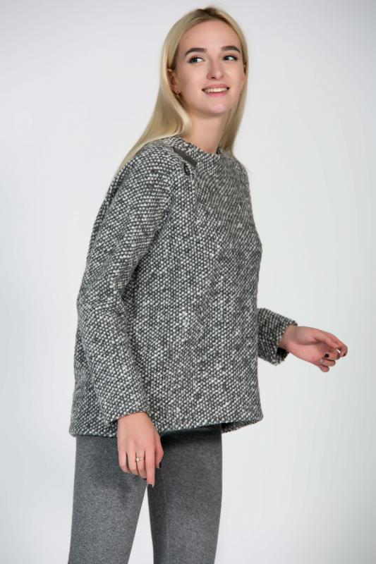 Buy Woolen warm grey loose sweater with silver decor, comfortable winter women sweater