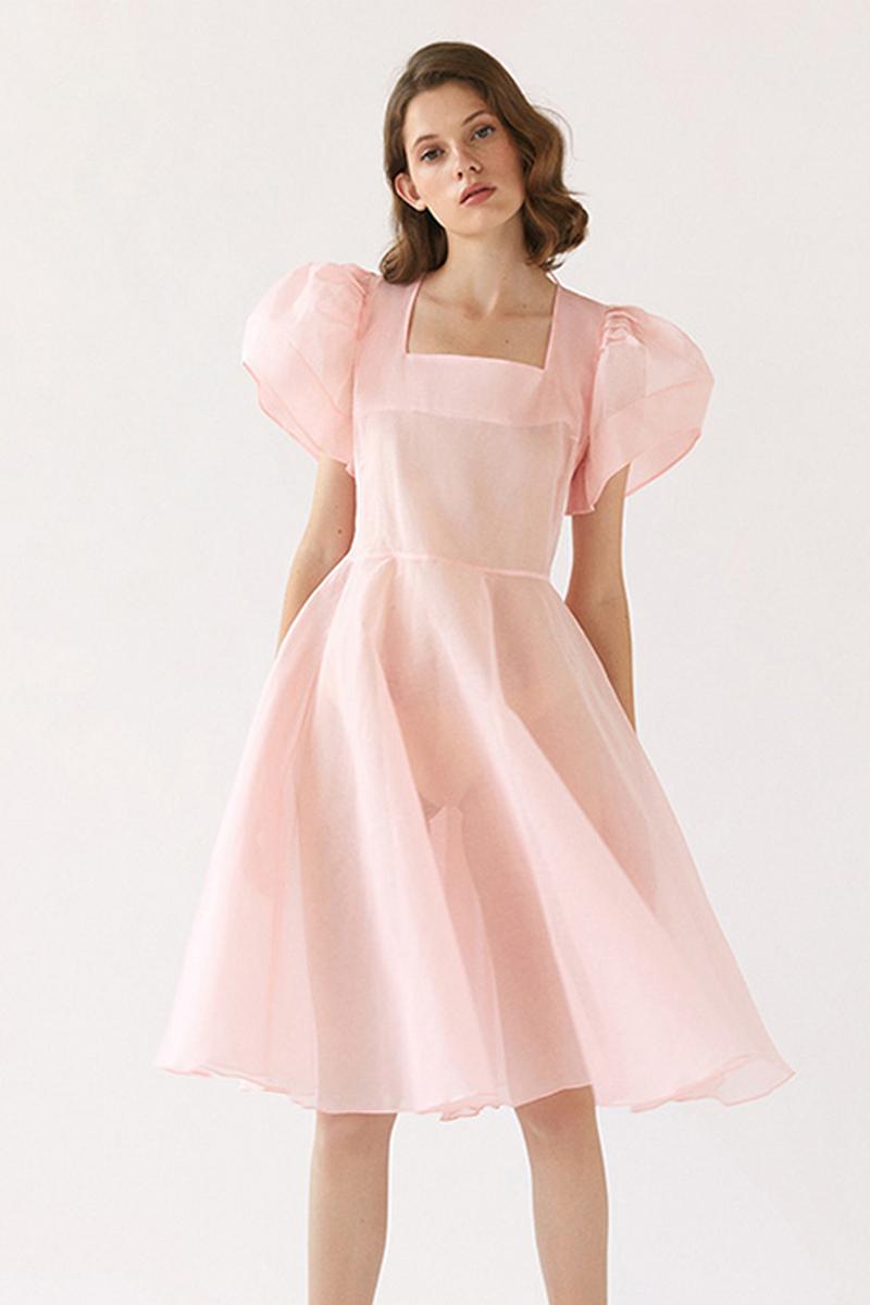 Buy Elegant Smart Sheer Dress Peach Organda Square Neck Lantern Sleeves Puffy Tie Skirt