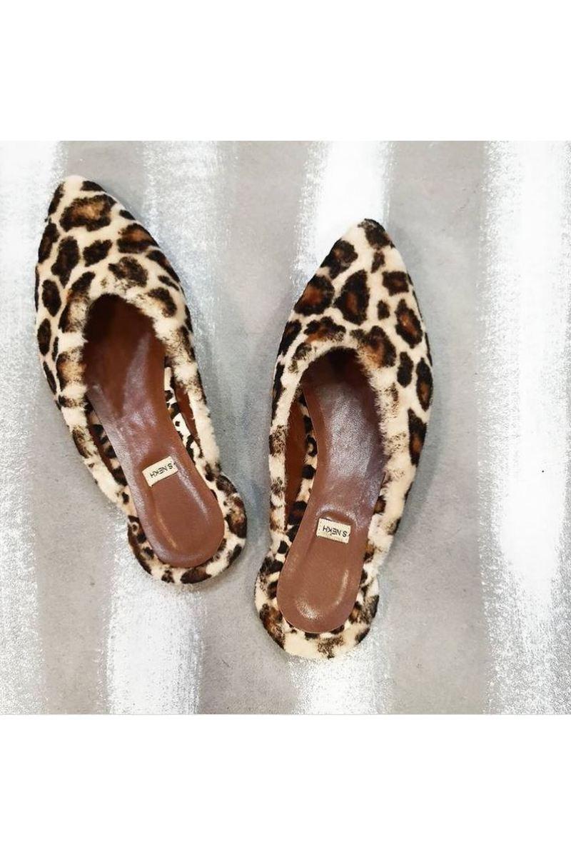 Buy Womens faux animal fur clogs toe point open heel, Handmade designer comfy stylish shoes
