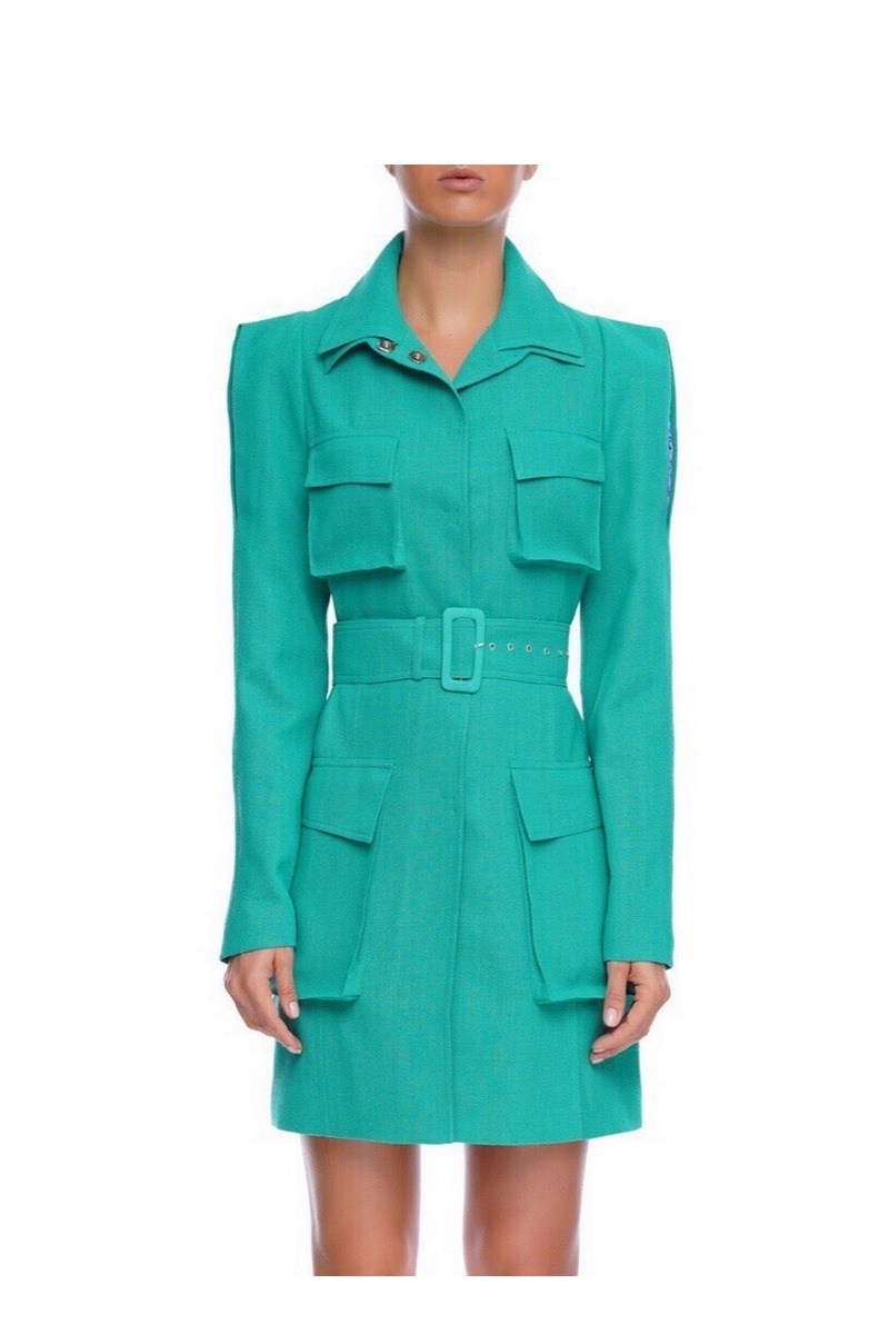 Buy Cotton green long jacket slits along the sleeves, large patch pockets women stylish jacket