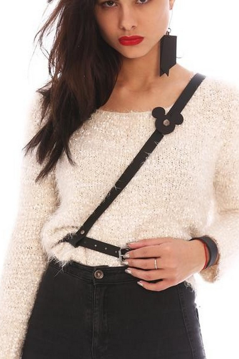 Buy Black real leather women's belt with brooch, Original Suspenders Waist belt