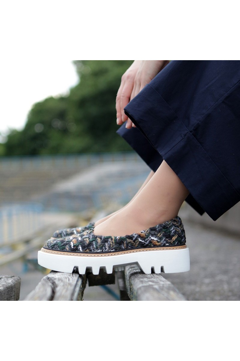 Buy Textile chunky sole women casual shoes, comfortable multicolor everyday shoes