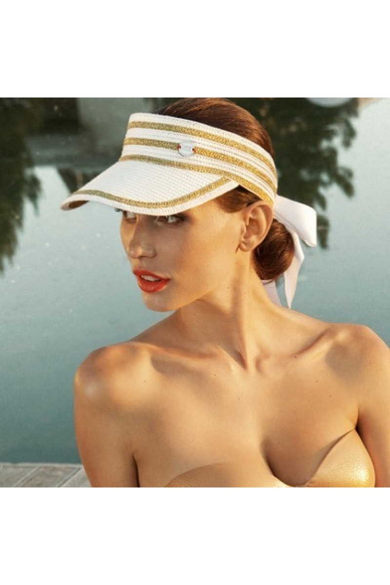 Buy Visor cap women's summer white & golden with a bow, Designer cap for ladies