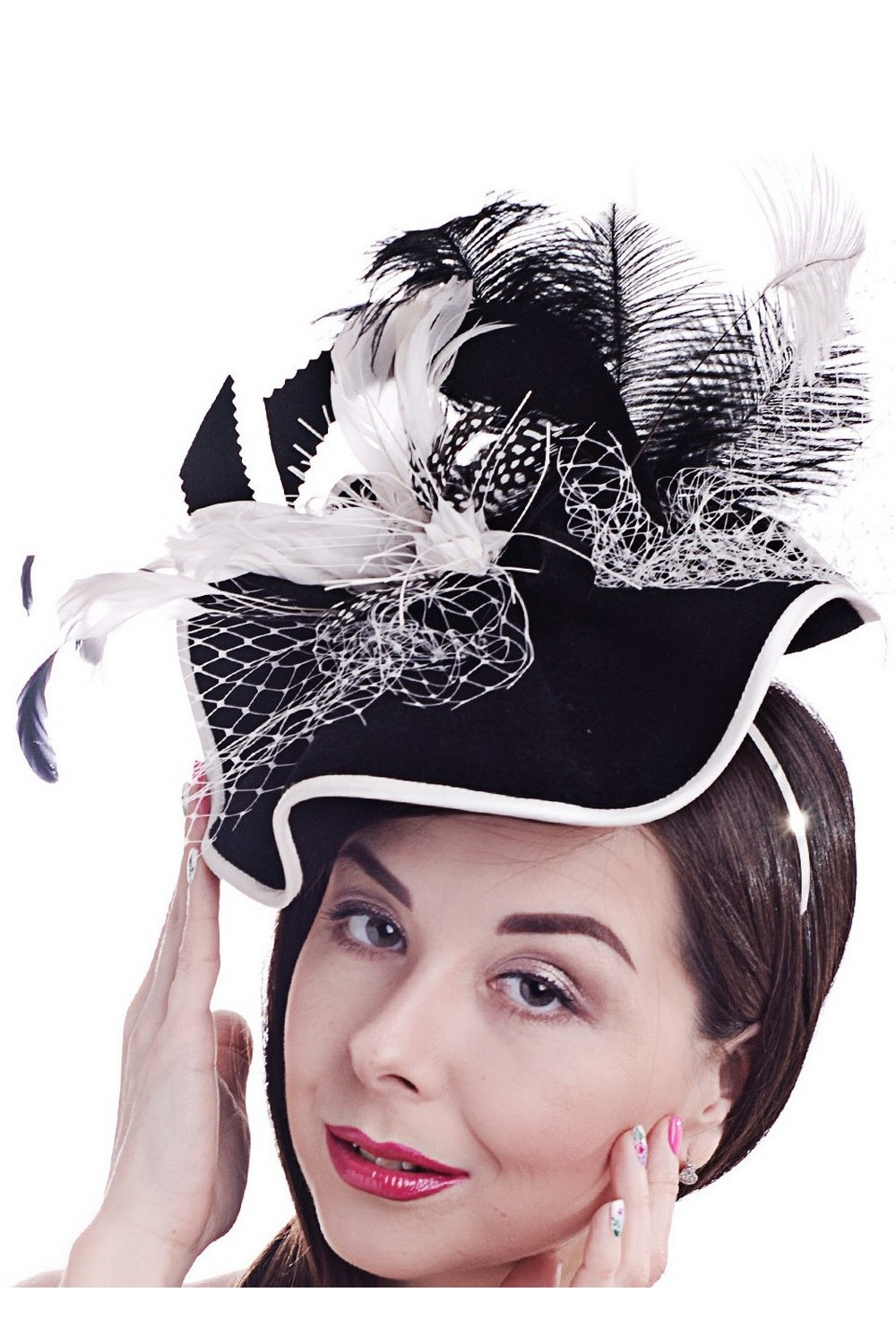 Buy Black and white exclusive felt women's feather hat in retro style, Unique designer stylish hat