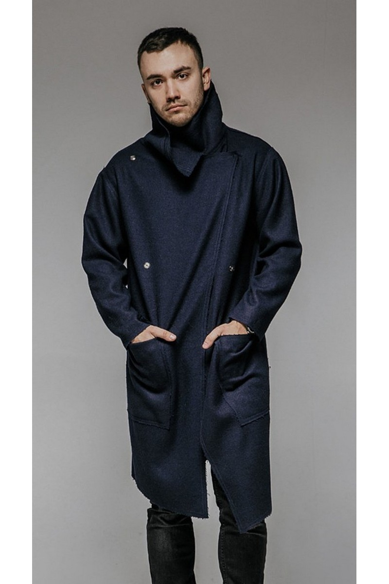 Buy Oversize Navy Blue Men's Coat, Comfortable Grunge Asymmetrical Pockets Vintage effect Coat