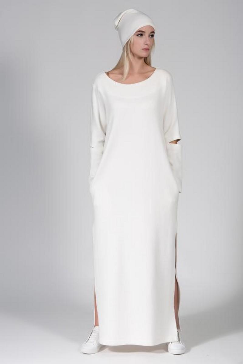 Buy Warm angora white maxi dress, Comfortable stylish women clothes