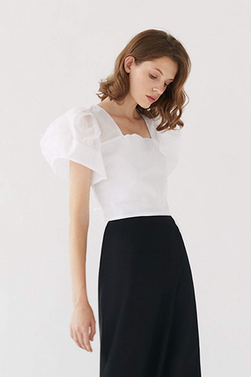 Buy White cotton elegant women crop top, square neck flashlight sleeves open back drawstring top