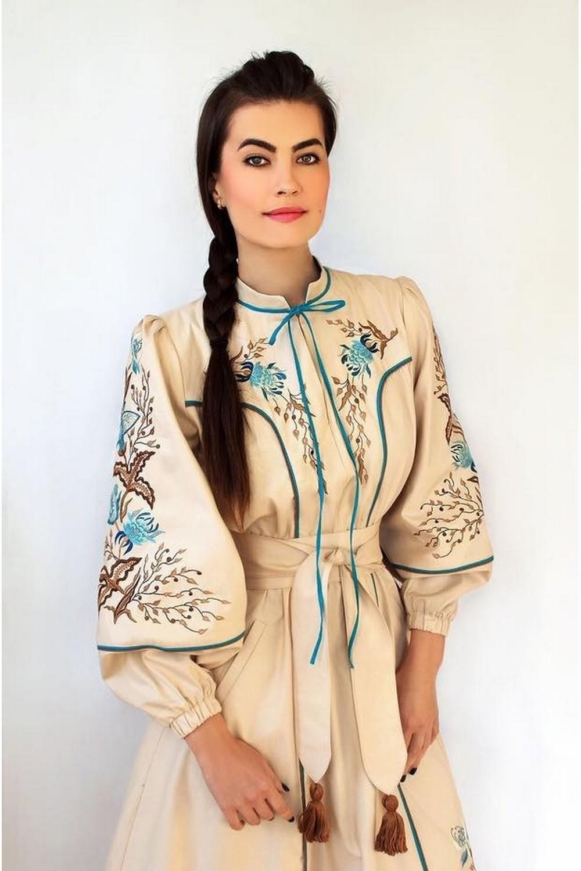 Buy Luxurious women`s midi dress in ethnic style handmade embroidery, Comfortable boho dress