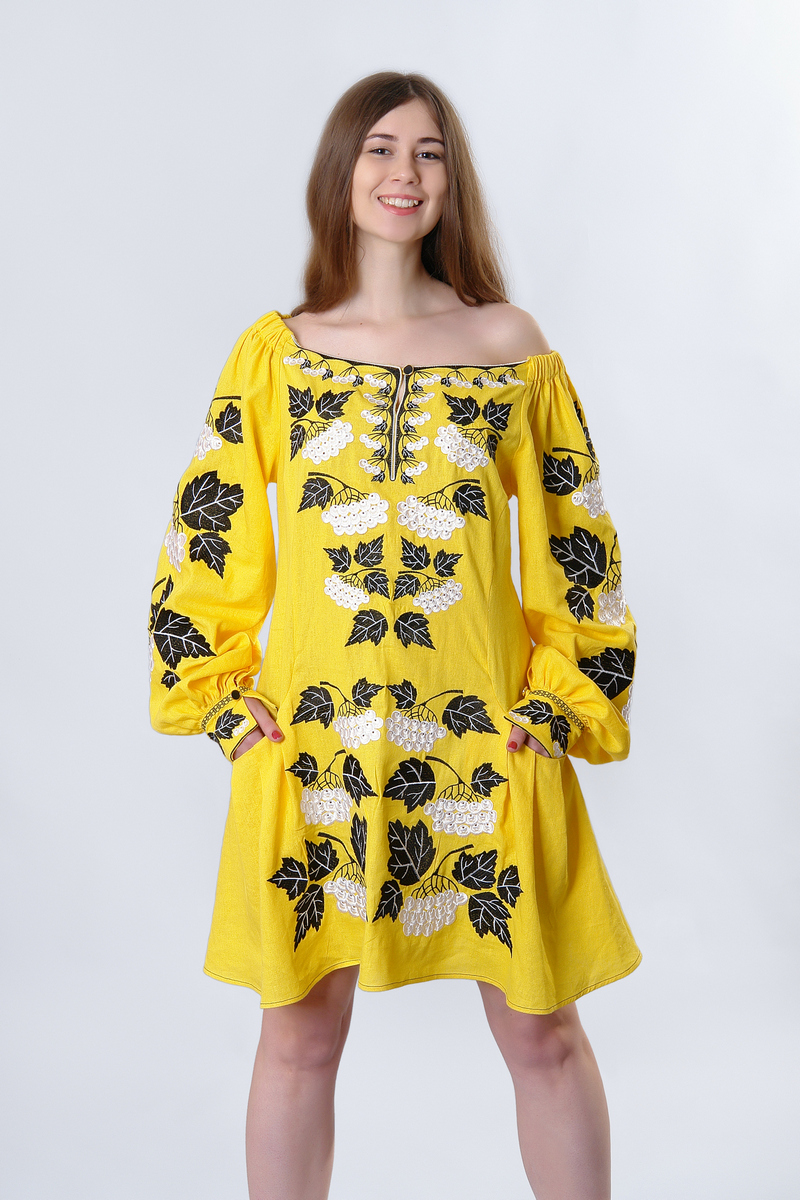 Buy Women yellow ethnic mini dress linen embroidered, Boho Hippie Folk Ukrainian vyshivanka