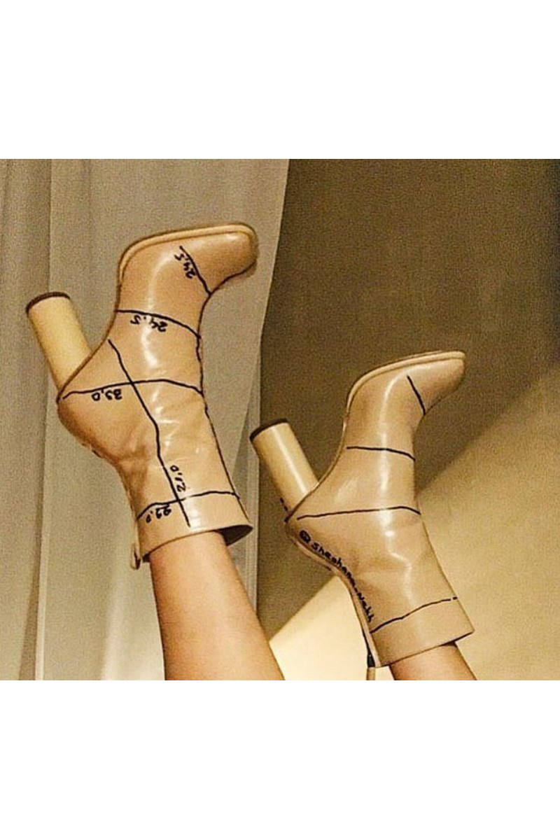 Buy Heel square toe beige leather ankle boots, stylish original handmade shoes