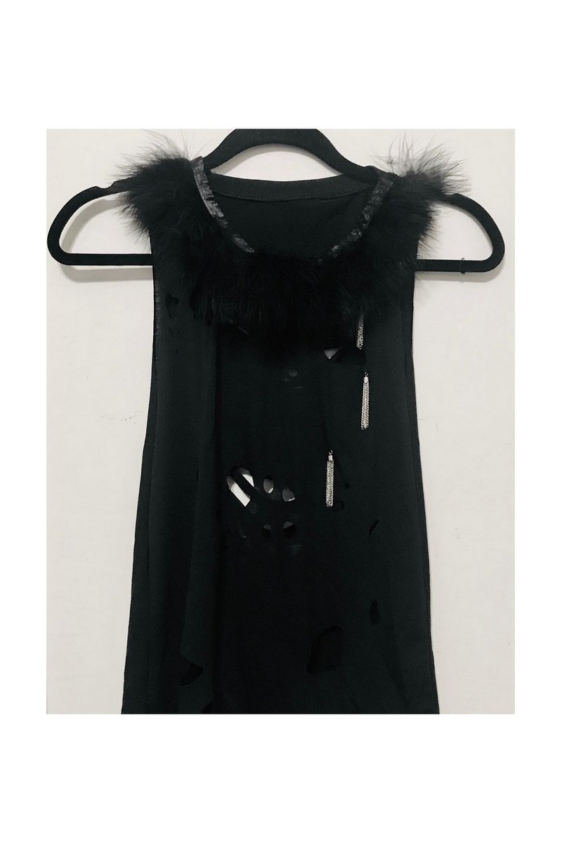 Buy Tank top with the ostrich feathers, Black gothic women sleeveless t shirt, ROCKNROLL CLOTHING