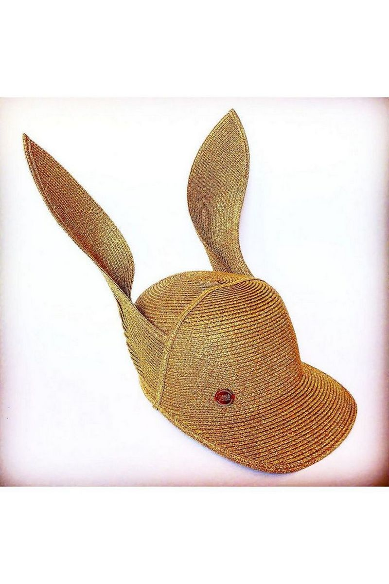 Buy Funny Golden women`s hat with ears, Summer designer cap for ladies