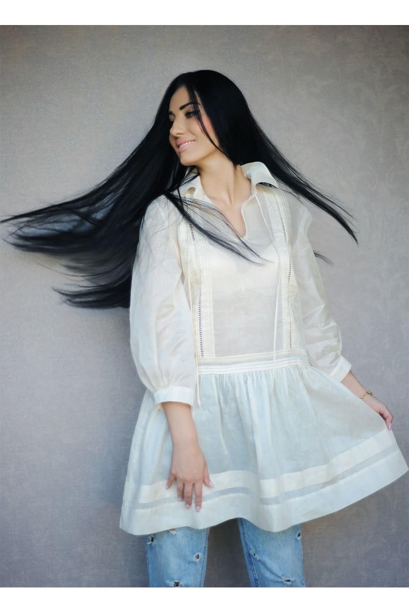 Buy Stylish white loose cotton batist blouse, oversize long designer 3/4 sleeve tunic for women