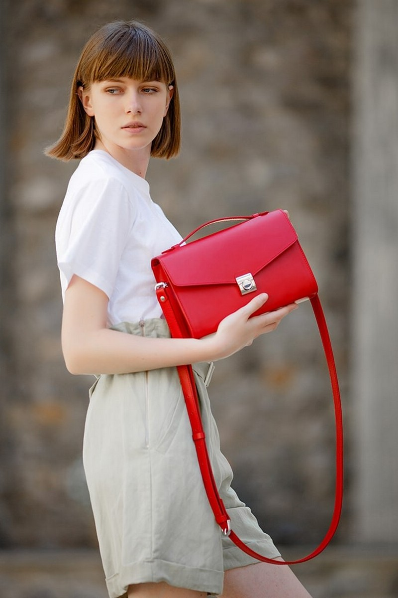 Buy Small red real leather women`s crossbody bag, Rectangular designer long handle clasp bag
