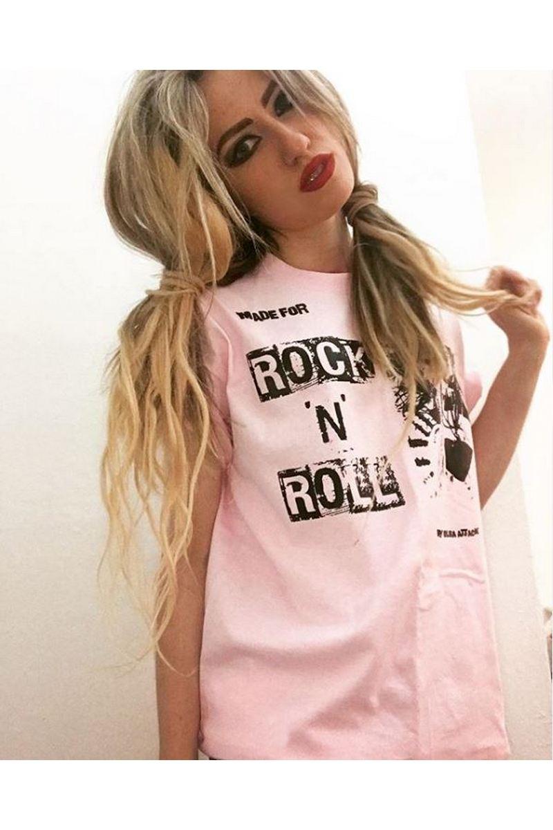 Buy Women's Pink Rock n Roll T-Shirt Short Sleeve Summer Shirts Casual Tops Tee Shirt
