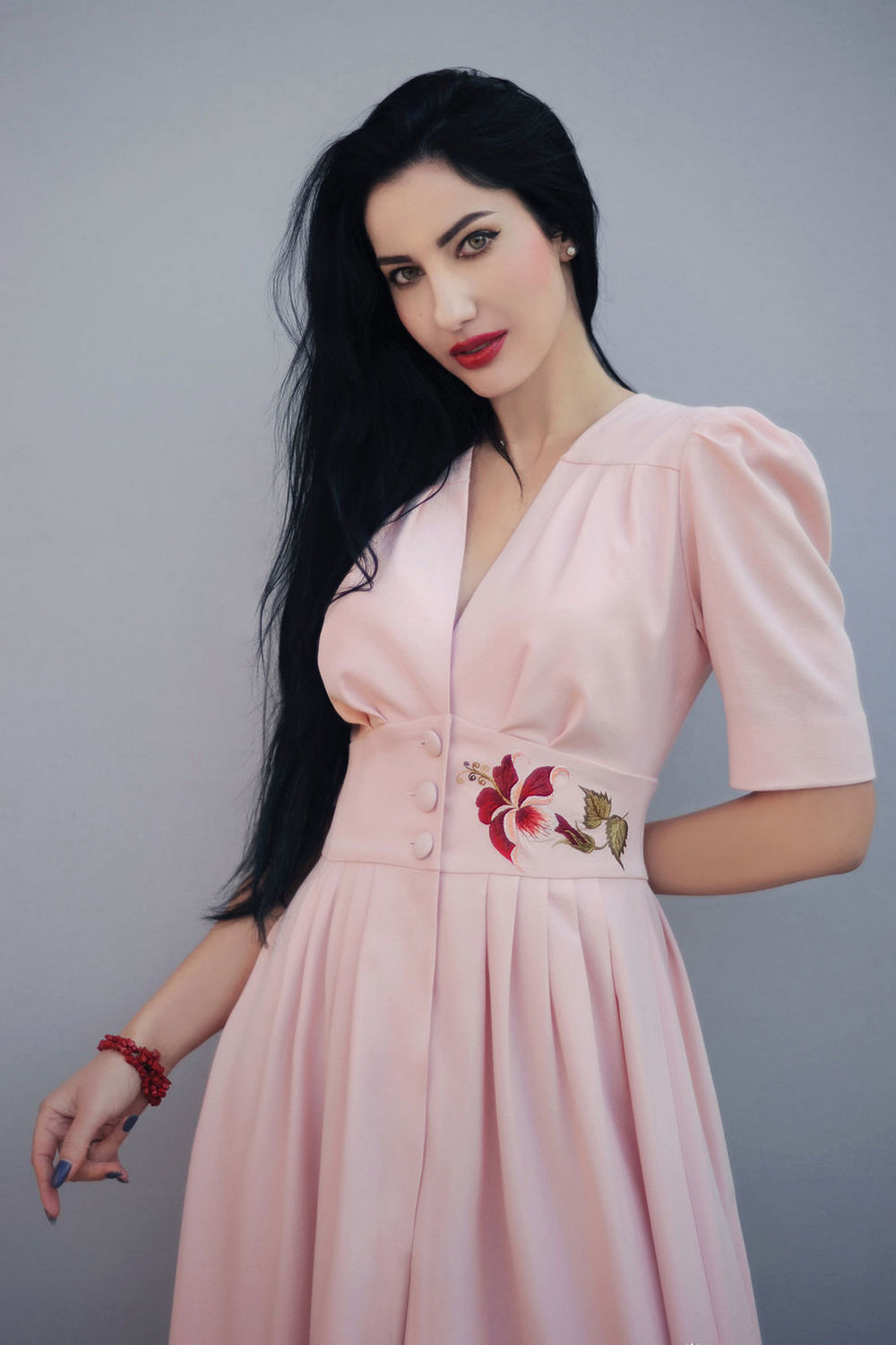 Buy Elegant midi pink dress with handmade embroidery, Original unique party dress, Luxurious everning dress
