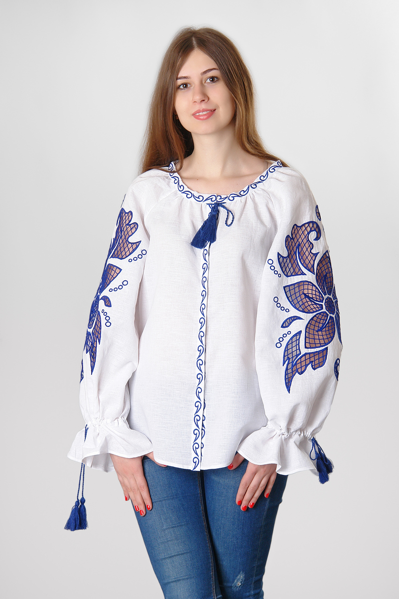 Buy Women White Authentic Hippie Boho Folk linen embroidered summer blouse , Ethnic Ukrainian style vyshivanka