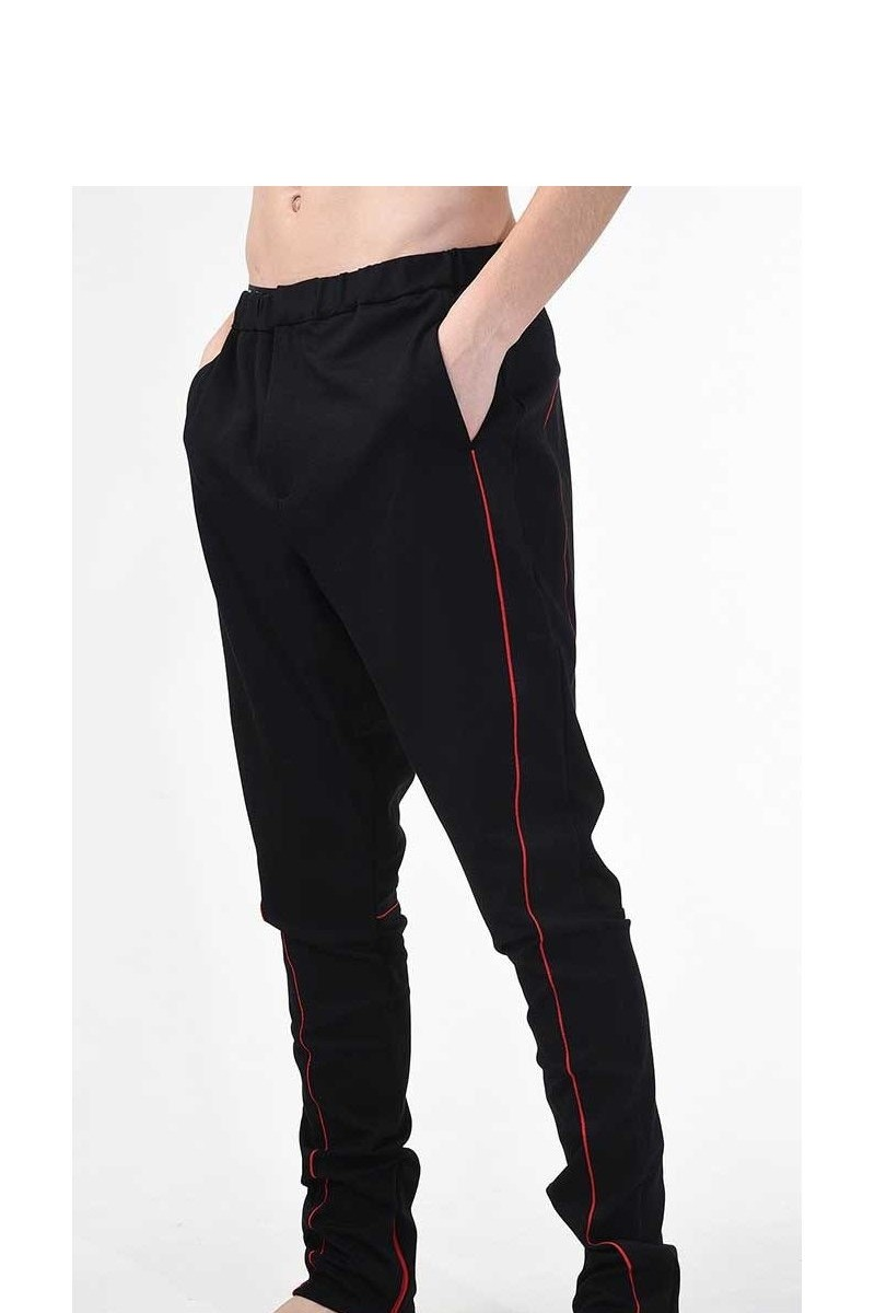 Buy Viscose black men`s sport pants, zippers elastic waist casual stylish trousers