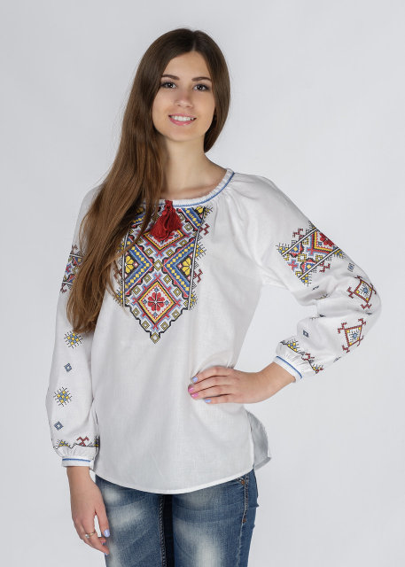 Buy  Vyshyvanka сotton blouse with long sleeves and Ukrainian national embroidery