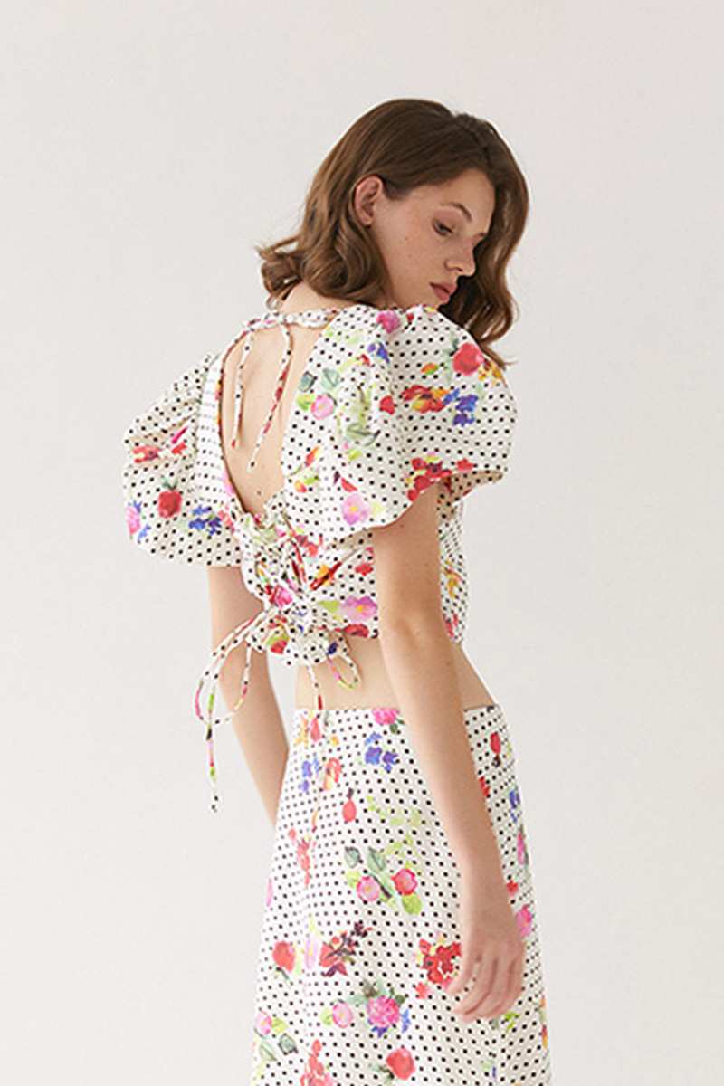 Buy Сotton women white crop top polka dots flowers pattern square neckline retro style open back top