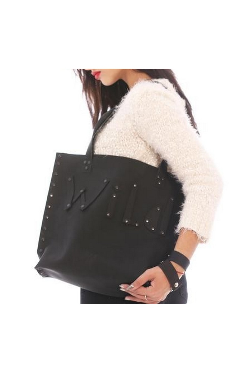Real Leather black women's medium Shopper bag Wild