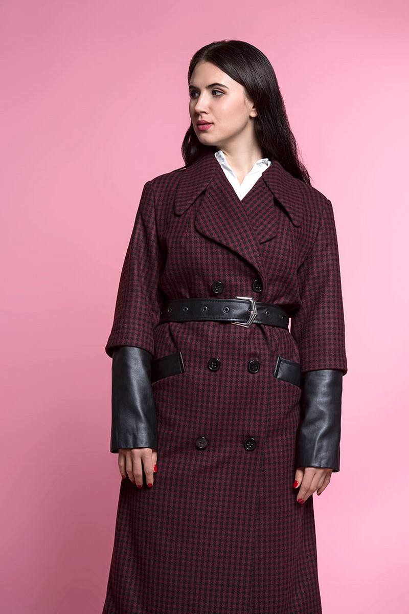 Buy Fall stylish wool leather warm checkered women`s midi coat with belt