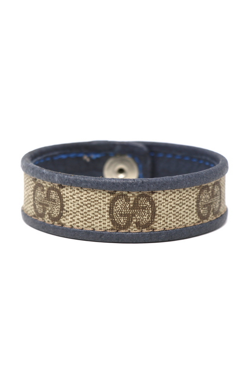 Buy Wristband Single Row Gucci/Cuff Stitched Blue Leather Bordering