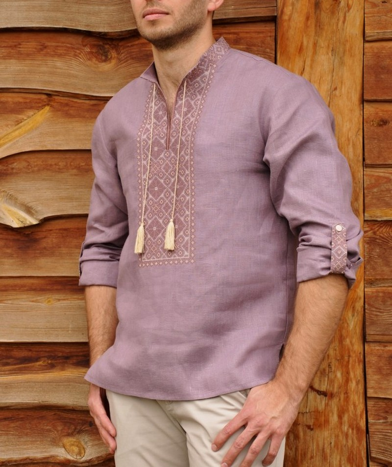 Buy Men's linen Purple Folk ethnic vyshivanka shirt, Summer Ukrainian embroidery shirt with long sleeves