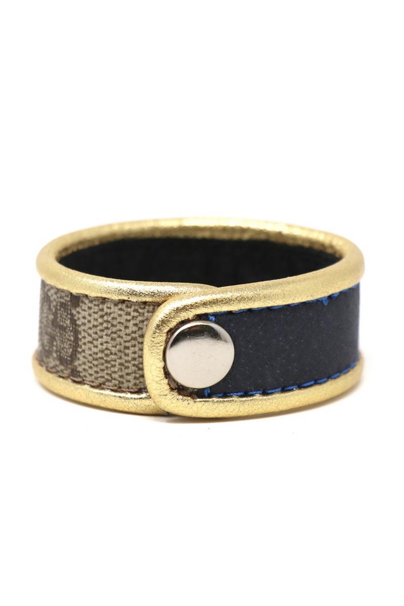 Buy Stylish Single Row Gucci Wristband/Cuff Stitched Blue Stripe Gold Leather Bordering