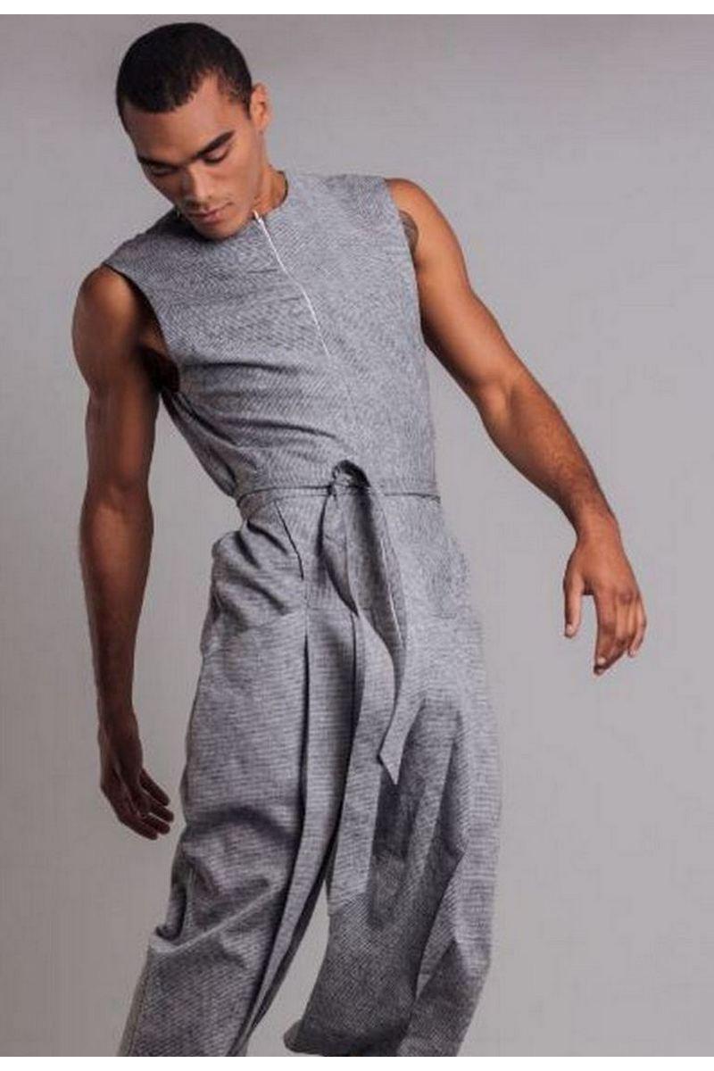 Buy Comfortable men`s linen gray strip sleeveless overalls belt zipp pockets
