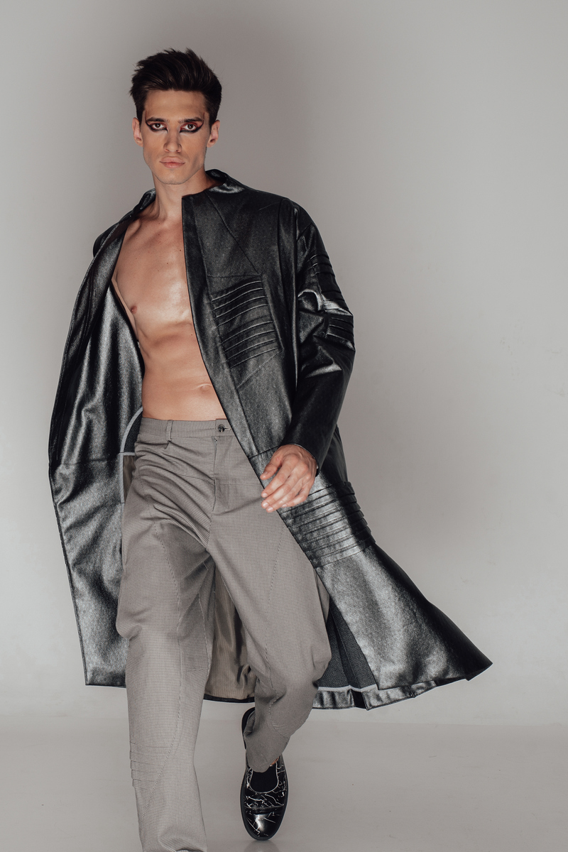 Buy Cotton Silver Long Men's Water-Repellant Designer Coat Trend Shiny gray Fashion Stylish Coat