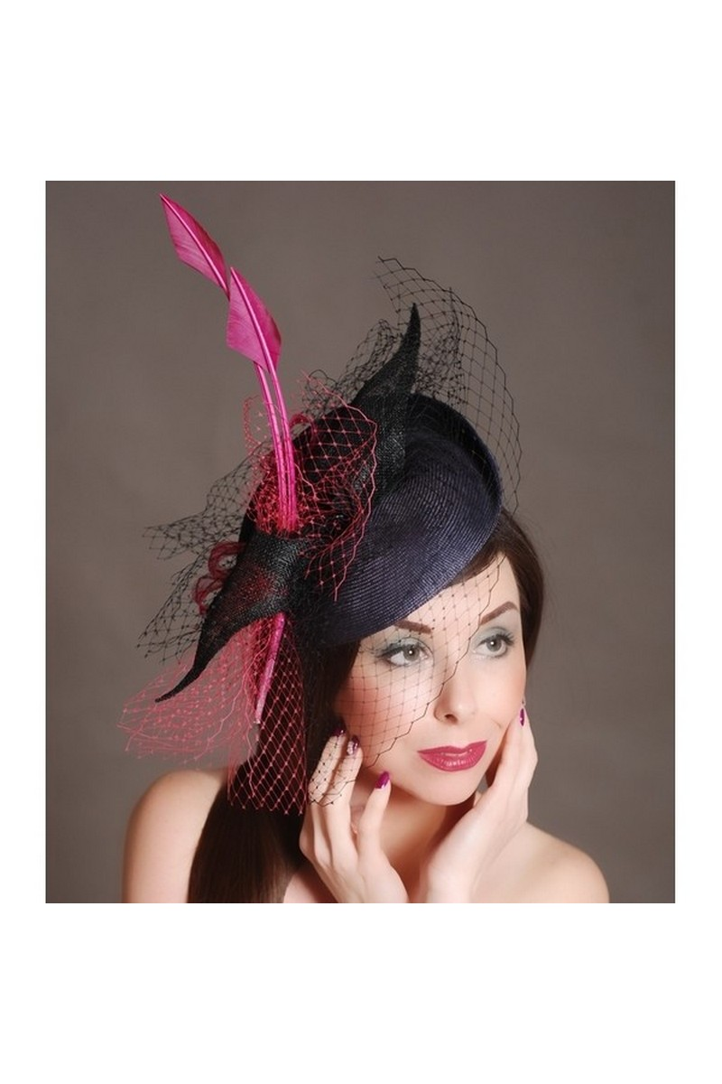 Buy Blue straw veil hat with raspberry feather arrow
