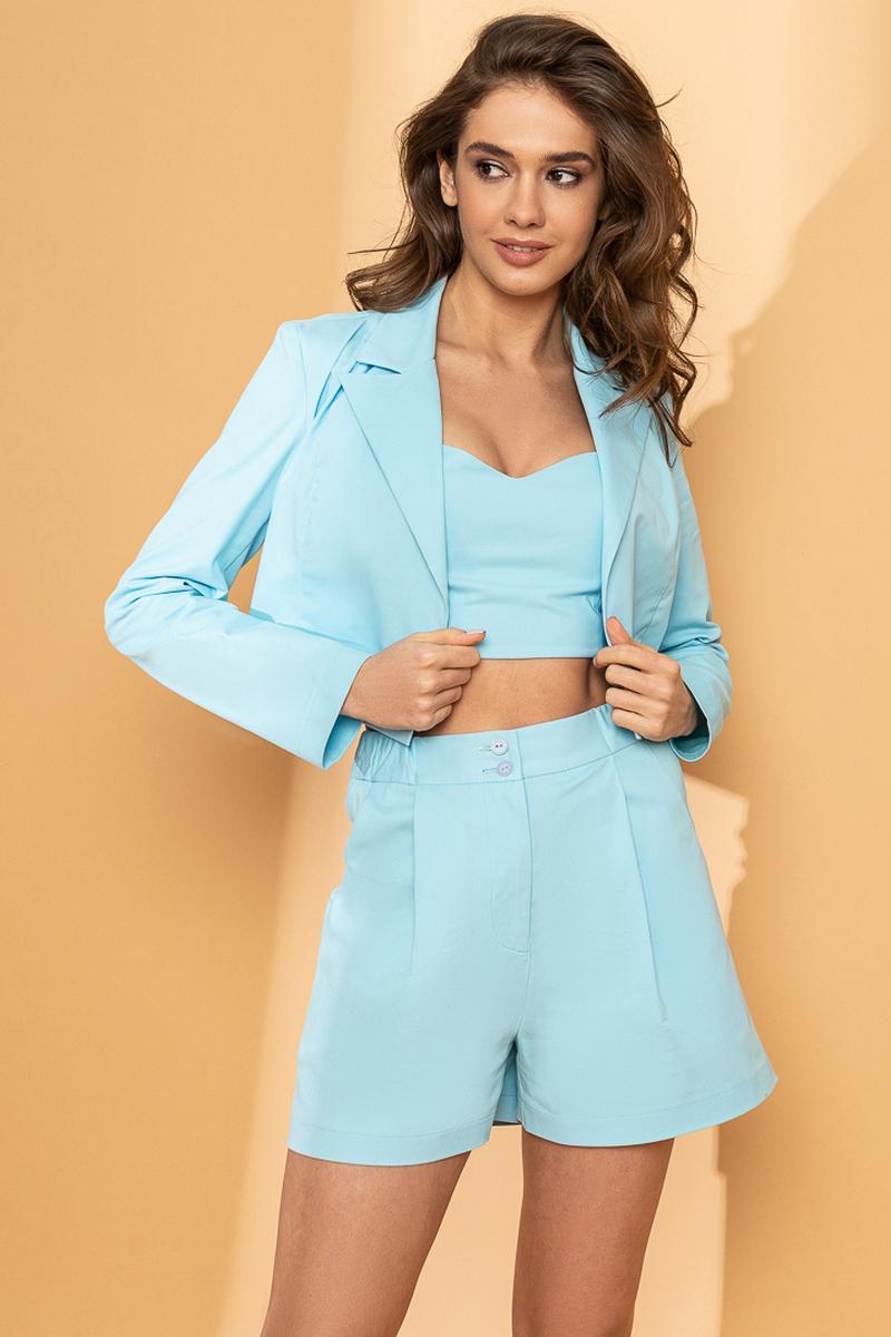 Buy Women Summer Blue 3 Piece Outfit Casual Short  Short Sleeve Sets Summer Cotton Suit