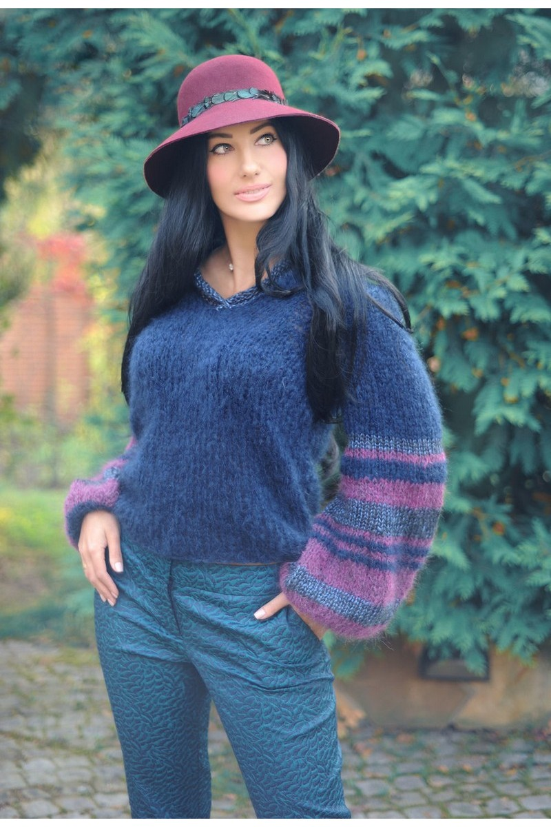 Buy Designer Warm Blue Mohair Wool Hand Knitted V neck Women`s Sweater