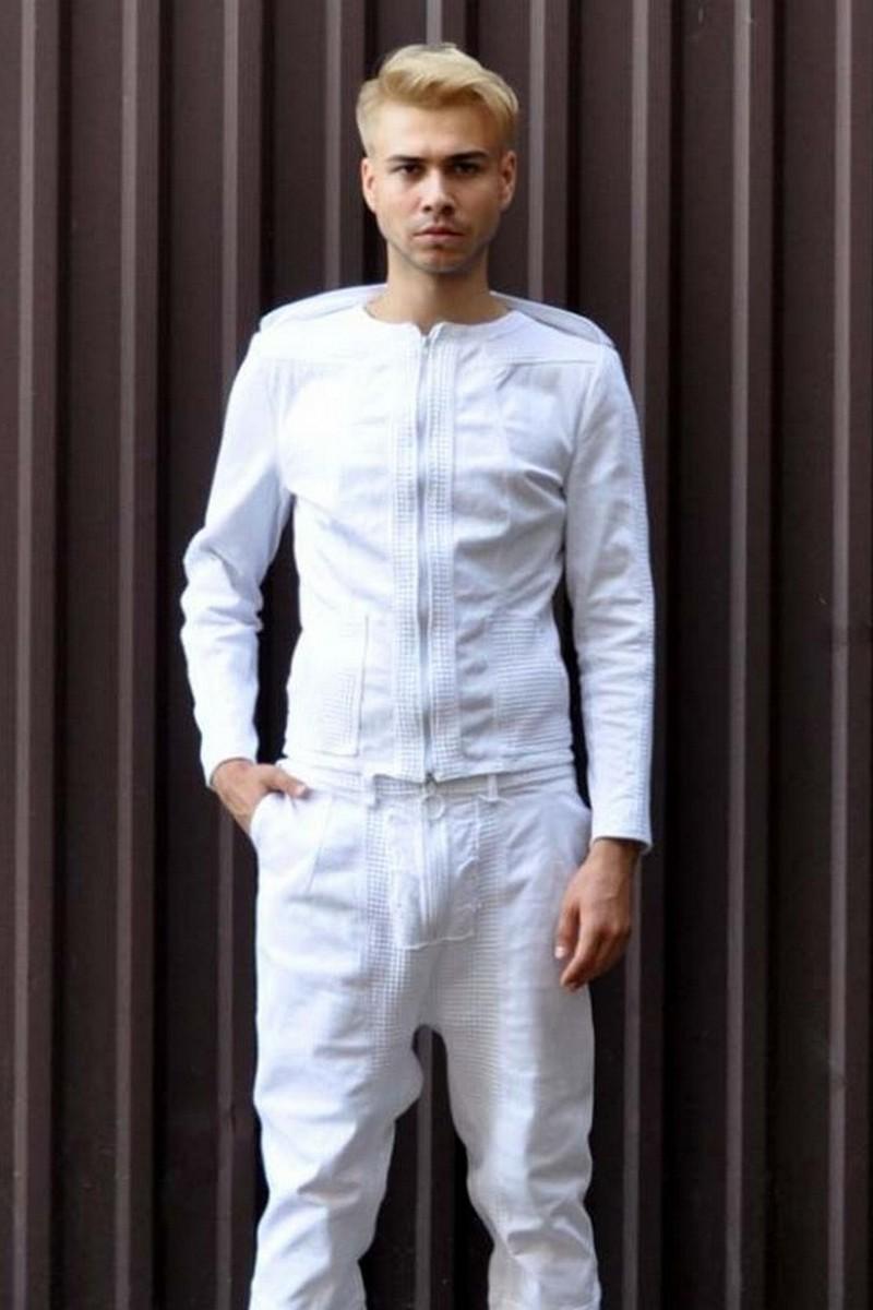 Buy Cotton White Men`s Designer Suit, SpaceMan Stylish Exclusive Party Club Suit