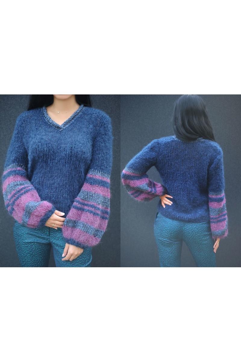 Designer Warm Blue Mohair Wool Hand Knitted V neck Women`s Sweater