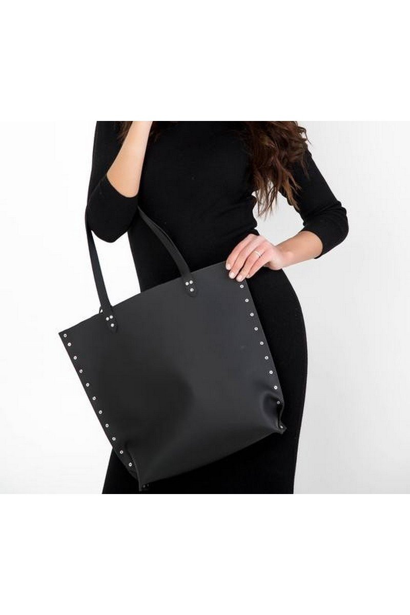 Buy Women bag shopper black real leather medium comfortable square rock rivets button